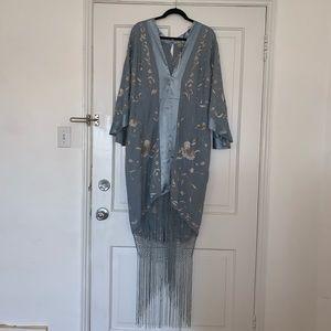 Plus size kimono dress with fringe